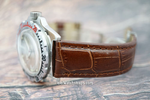 Vostok Amphibian Brown Crocodile Padded Leather Watch Strap Butterfly Development Clasp