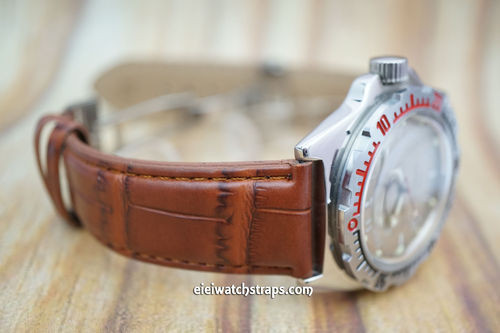 Vostok Amphibian Brown Crocodile Watch Strap On Butterfly Deployant Clasp