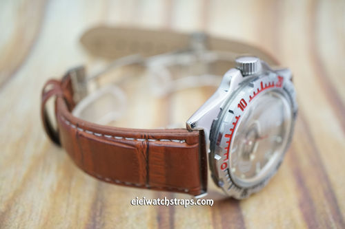 Vostok Amphibian Brown Crocodile Watch Strap On Butterfly Deployant Clasp White Stitched