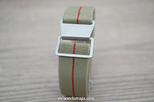 Classic Khaki Red Elastic Parachute Military Watch Band