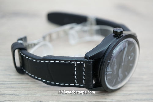 Bell & Ross Aviator Hand Made 22mm Black Alligator Watch Strap On Deployment Clasp