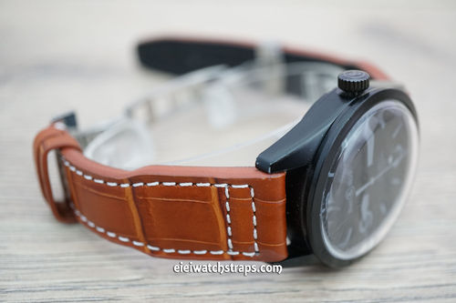 Bell & Ross Aviator Hand Made 22mm Brown Alligator Watch Strap On Deployment Clasp