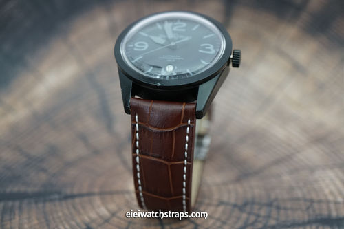 Bell & Ross Dark Brown Alligator Padded Leather Watch Strap