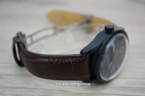 Bell & Ross Crocodile Oval Grain Leather Watch Strap on Deployment Clasp