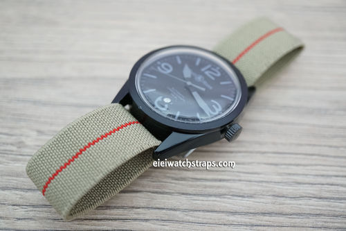 Bell & Ross Classic Khaki Red Elastic Parachute Military Watch Band