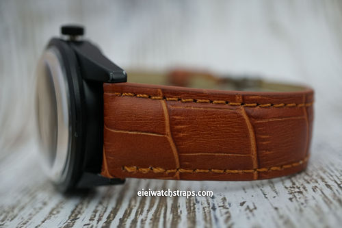 Bell & Ross Padded Brown Crocodile Watch Strap Tang Buckle
