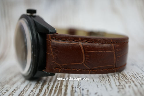 Bell & Ross Padded Dark Brown Crocodile Watch Strap Tang Buckle