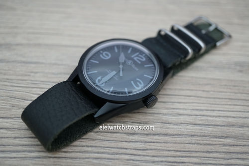 Bell & Ross NATO Genuine Black Leather Watch Strap