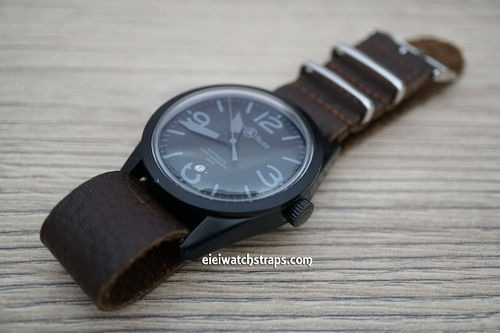 Bell & Ross NATO Genuine Coffee Brown Leather Watch Strap