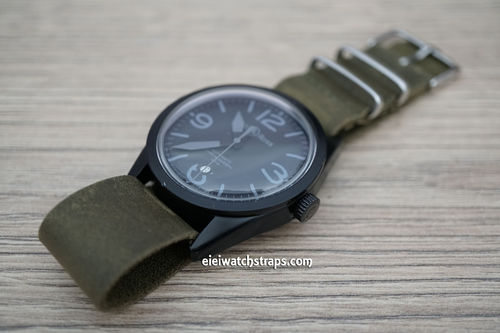 Bell & Ross NATO Genuine Green Leather Watch Strap