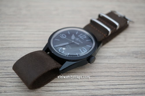 Bell & Ross NATO Genuine Dark Brown Leather Watch Strap