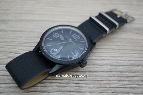 Bell & Ross NATO Black Leather Watch Strap