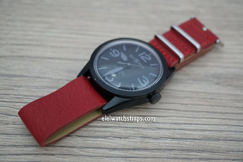 Bell & Ross NATO Red Leather Watch Strap