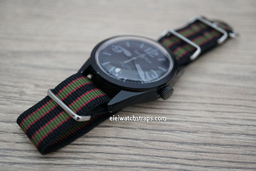 Bell & Ross James Bond Nylon NATO Watch Strap Dark Blue with Dark Red and Dark Olive stripes