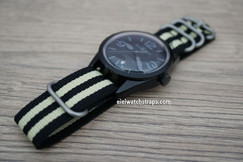 Bell & Ross ZULU Black Cream Nylon Diver's Watch Strap Quality Heavy Duty