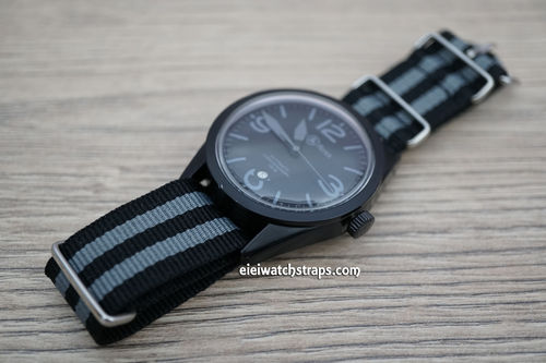 Bell & Ross Military Black Gray G10 NATO Nylon Watch strap Stainless Steel Fittings