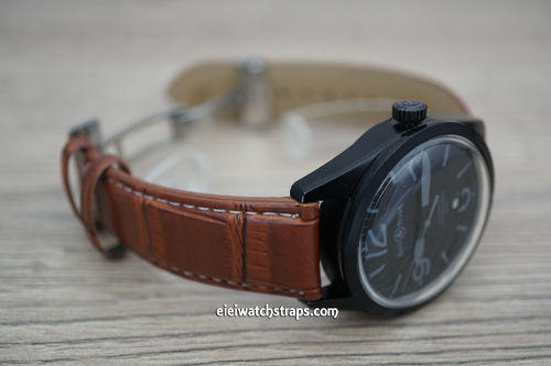Bell & Ross Brown Crocodile Watch Strap On Butterfly Deployant Clasp