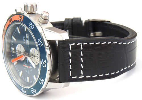 IWC Aquatimer Aviator Hand Made 22mm Black Alligator watch strap on Tang Buckle