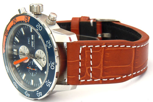 IWC Aquatimer Aviator Hand Made 22mm Brown Alligator watch strap on Tang Buckle