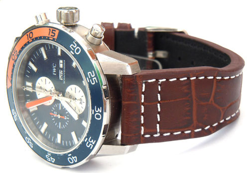 IWC Aquatimer Aviator Hand Made 22mm Dark Brown Alligator watch strap on Tang Buckle
