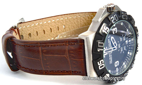 TAG Heuer Formula 1 Classic Dark Brown Crocodile Grain Leather Watch Strap Tang Buckle
