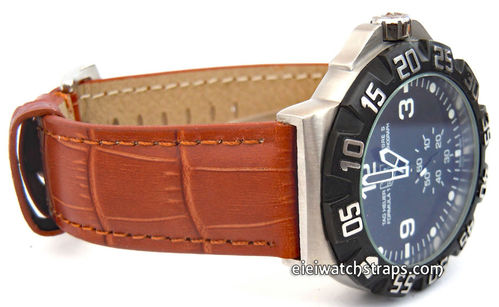 TAG Heuer Formula 1 Classic Brown Crocodile Grain Leather Watch Strap Tang Buckle