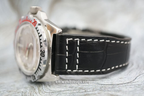 Vostok Amphibian Aviator Hand Made 22mm Black Alligator Watch Strap on Tang Clasp