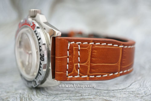Vostok Amphibian Aviator Hand Made 22mm Brown Alligator Watch Strap on Tang Clasp