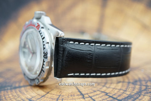 Vostok Amphibian Black Alligator Padded Leather Watch Strap Butterfly Tang Clasp