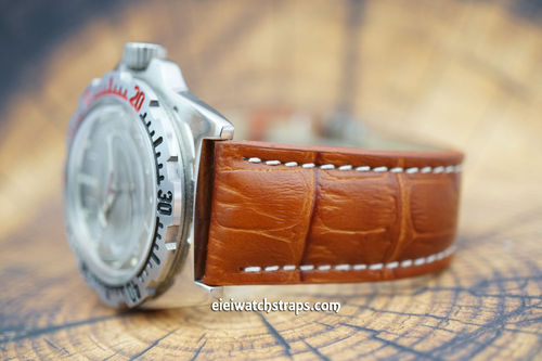 Vostok Amphibian Brown Alligator Padded Leather Watch Strap Butterfly Tang Clasp