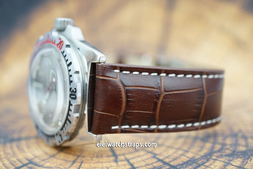Vostok Amphibian Dark Brown Alligator Padded Leather Watch Strap Butterfly Tang Clasp