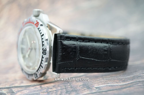 Vostok Amphibian Black Crocodile Padded Leather Watch Strap Butterfly Tang Clasp