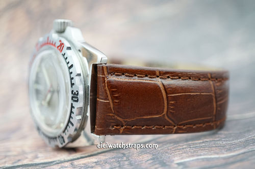 Vostok Amphibian Dark Brown Crocodile Padded Leather Watch Strap Butterfly Tang Clasp