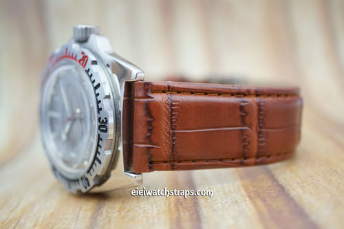 Vostok Amphibian Brown Crocodile Watch Strap On Butterfly Tang Clasp