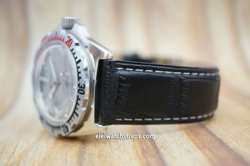Vostok Amphibian Black Crocodile Watch Strap On Butterfly Tang Clasp White Stitched