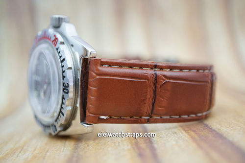 Vostok Amphibian Brown Crocodile Watch Strap On Butterfly Tang Clasp White Stitched
