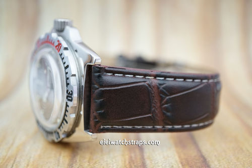Vostok Amphibian Dark Brown Crocodile Watch Strap On Butterfly Tang Clasp White Stitched