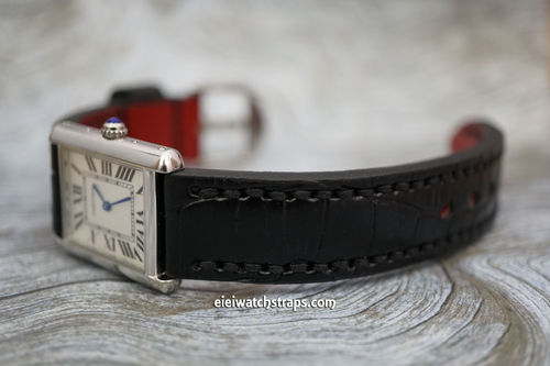 Cartier Handmade Black Alligator Watch Strap
