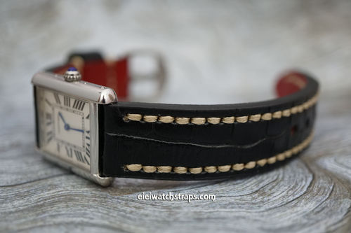 Cartier Handmade Black Alligator Watch Strap White Stitched