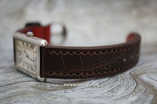 Cartier Handmade Brown Alligator Watch Strap