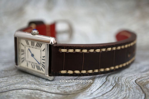 Cartier Handmade Brown Alligator Watch Strap White Stitched