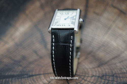 Cartier Black Alligator Grain Padded Leather Watch Strap Tang Clasp