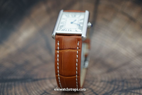 Cartier Brown Alligator Grain Padded Leather Watch Strap Tang Clasp