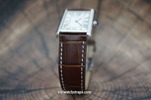 Cartier Dark Brown Alligator Grain Padded Leather Watch Strap Tang Clasp