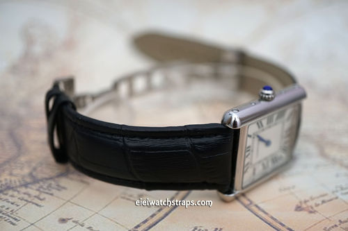 Cartier Classic Black Crocodile Grain Leather Watch Strap on Deployment Clasp