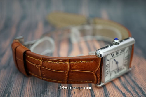 Cartier Classic Brown Crocodile Grain Leather Watch Strap on Deployment Clasp