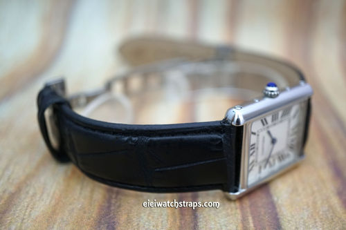 Cartier Black Crocodile Watch Strap On Butterfly Deployant Clasp
