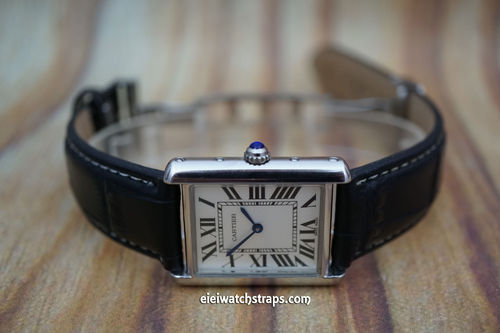 Cartier Black Crocodile Watch Strap On Butterfly Deployant Clasp White Stitched