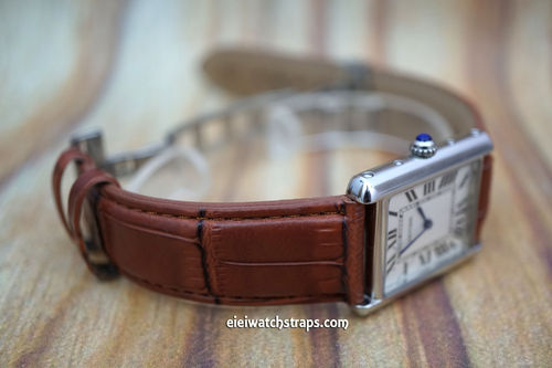 Cartier Brown Crocodile Watch Strap On Butterfly Deployant Clasp