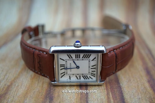 Cartier Brown Crocodile Watch Strap On Butterfly Deployant Clasp White Stitched